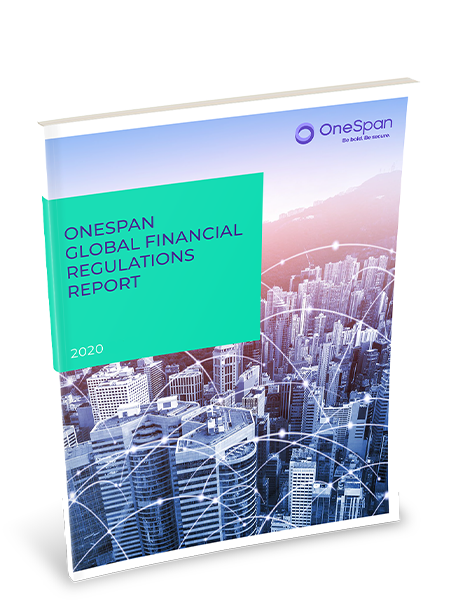 Cover of a physical copy of the OneSpan Global Financial Regulations Report