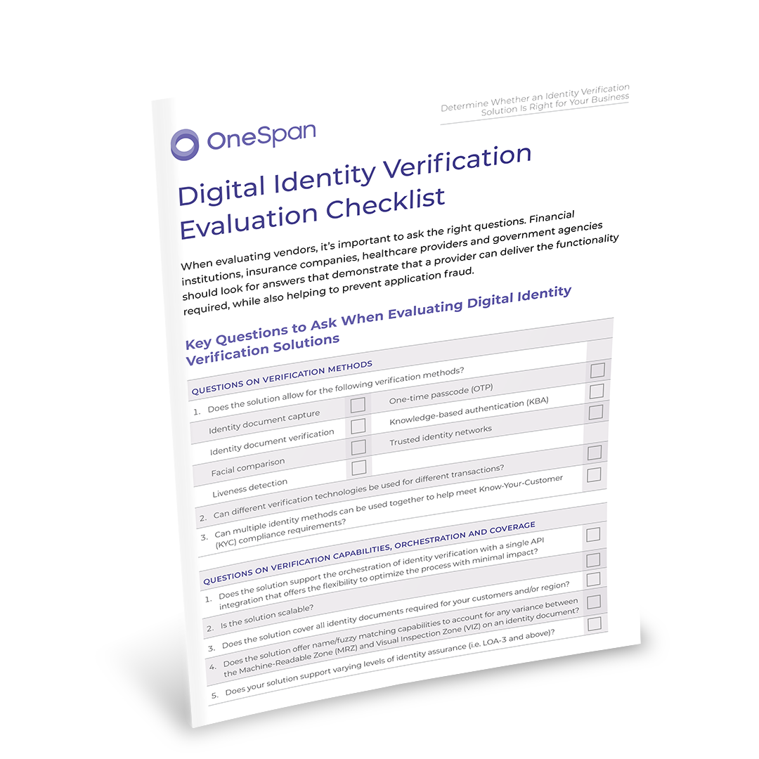 Digital Identity Verification Evaluation Checklist