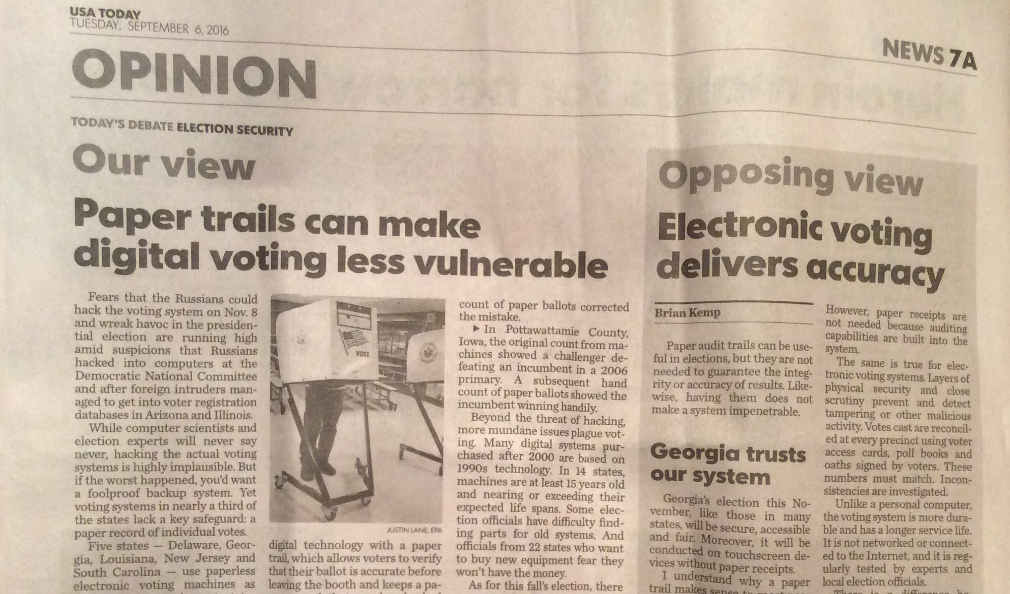Election security and paper audit trails