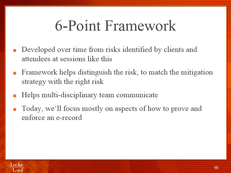 Reduce Risk with Patrick Hatfield 6 point framework
