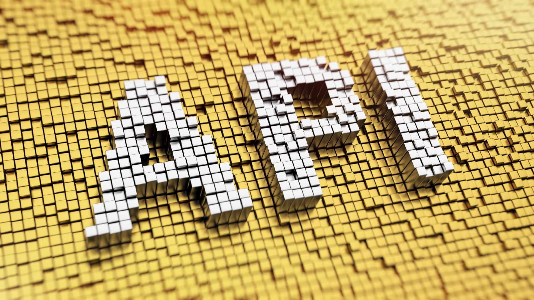 Pixelated acronym API made from cubes, mosaic pattern