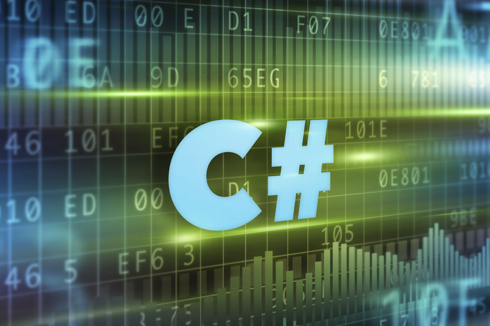 C# concept green background with blue text
