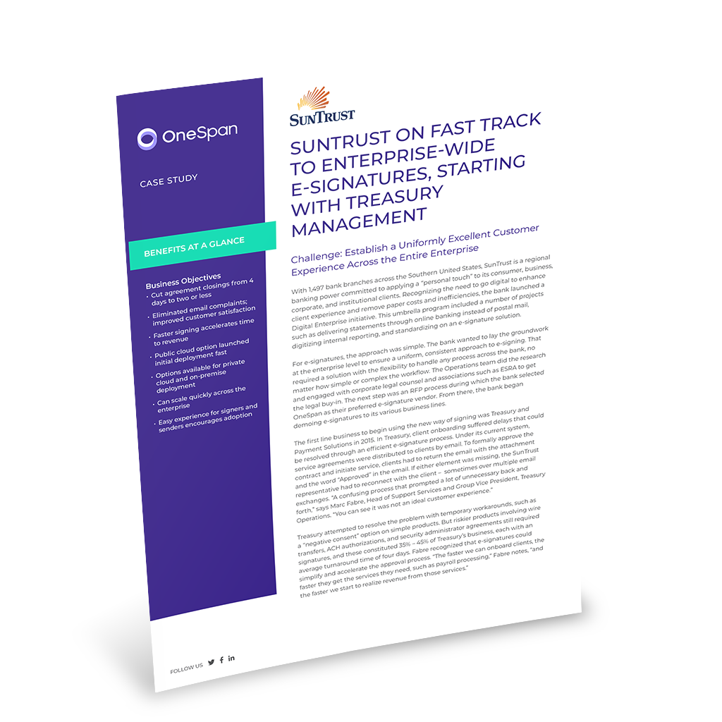 SunTrust Bank - E-Signatures for Treasury Management | OneSpan