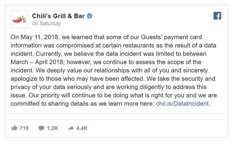 Chili's databreach on Facebook