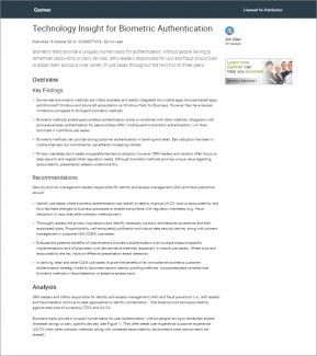 Gartner Report: Technology Insight for Biometric Authentication