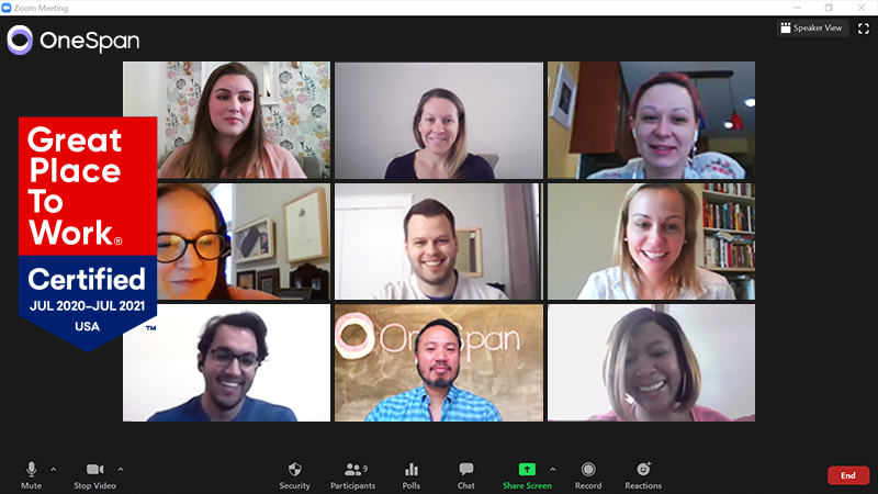 OneSpan employees on a video call