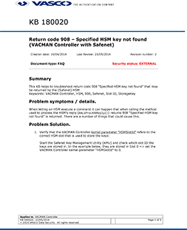 KB_180020: Return code 908 – Specified HSM key not found (VACMAN